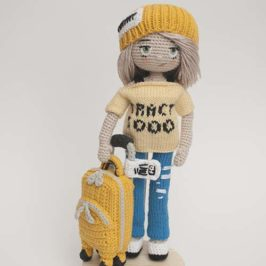Crochet doll tourist