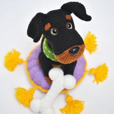 Crochet dog with a bone